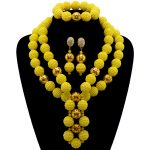 Yellow African beads <b>jewelry</b> set gold-color ball beads bride <b>jewelry</b> nigerian <b>wedding</b> african beads <b>jewelry</b> Set