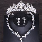 Vintage Bridal <b>Jewelry</b> Sets Pearl Crown Necklace Earring For Women Silver Color Princess Wedding tiara Hair <b>Jewelry</b> <b>Accessories</b>