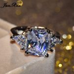 JUNXIN Luxury Male Female White Crystal Zircon Stone Ring Fashion Gold Filled <b>Jewelry</b> Vintage <b>Wedding</b> Rings For Men And Women