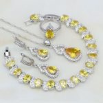 Yellow Cubic Zirconia White CZ 925 Silver <b>Jewelry</b> Sets For Women Wedding Adjustable Open Ring/Earring/Pendant/<b>Necklace</b>/Bracelet