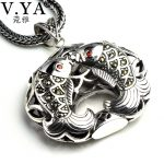 V.YA 925 <b>Silver</b> Double Fish Pendant For Women Retro Design Pendants Fit Most <b>Necklace</b> 925 Sterling <b>Silver</b> Jewelry High Quality