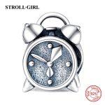 Fit Authentic pandora bracelets silver 925 original <b>Antique</b> Alarm Clock Beads DIY Charms Pendants charm <b>Jewelry</b> Making Gifts
