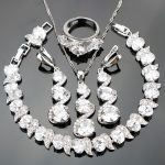 Nickle Free Silver 925 Wedding Classic White Stones <b>Jewelry</b> Sets For Women Bracelets/Earrings/Pendant/<b>Necklace</b>/Rings