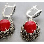 Lady's Red Carved Lacquer Marcasite 925 Sterling <b>Silver</b> floeer Ring(#7-10) <b>Earrings</b> & Pandent jewelry sets