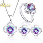 ZHIXI Fine Jewelry Sets 925 Sterling <b>Silver</b> Necklace Pendant <b>Earring</b> Ring Natural Topaz Gemstone Trendy Gift For Women ROSE T240