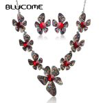 Blucome Luxurious Collar <b>Necklace</b> Earrings Set Max Brincos Flowers Red Crystal <b>Jewelry</b> Sets For Wedding Party Women Bijuterias