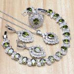 Stawberry Olive Green Cubic Zirconia White CZ 925 Sterling <b>Silver</b> Jewelry Sets For Women Earring/Pendant/Necklace/<b>Bracelet</b>/Ring