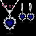 Giemi 925 Sterling Silver Wedding Elegant <b>Jewelry</b> Sets Crystal Pendant Collar Necklace Earrings for Women Female Valentine Gifts