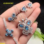 KJJEAXCMY boutique jewels 925 <b>silver</b> inlay natural blue topaz ring pendant <b>earrings</b> bracelet 4 suit send Necklace