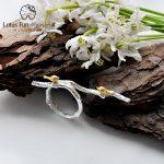 Lotus Fun Moment Real 925 Sterling Silver Natural Original <b>Handmade</b> Fashion <b>Jewelry</b> Bird on Branch Adjustable Rings for Women