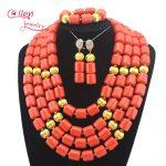 African Coral beads <b>Jewelry</b> Set Nigerian Beads Wedding <b>Jewelry</b> Sets for Bridal Statement <b>necklace</b> cheap E1116