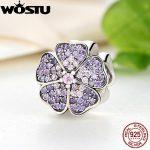 Luxury 100% 925 Sterling Silver Sparkling Primrose Charm Original Fit WST Bracelet Pendants Authentic DIY <b>Jewelry</b> FBS024