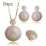 Dazz Top Quality Double Round <b>Jewelry</b> Sets AAA Cubic Zirconia Bridal Wedding Big Pendant <b>Necklace</b> Earring Ring Set Copper Bijoux