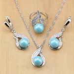 Beautiful Beads Freshwater Pearl 925 Silver Bridal <b>Jewelry</b> Set For Women Drop Earrings/Pendant/Ring/Necklace Set