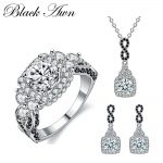 [BLACK AWN] 925 Sterling <b>Silver</b> Fine Jewelry Sets Trendy Engagement Sets Ring+<b>Earring</b>+Necklace for Women PTR152