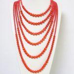 Unique design orange imitation coral round beads 6 rows neckalce for women high grade wedding gift <b>jewelry</b> <b>making</b> B1910