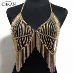 Chran Luxury Women Gold <b>Silver</b> Beach Chains Fashion Alloy Harness Black Dress Slave Halter <b>Necklace</b> Chain Bra Jewelry BDC455