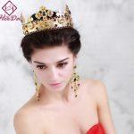 High-end Elegant Baroque Crystal Bride Crown Earring Set Fashion Trend Vintage Headwear Hot-selling Graceful Wedding <b>Accessories</b>