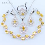 L&B Yellow Orange Stone <b>Silver</b> Color Jewelry Sets Children's Jewelry <b>Bracelet</b> Rings Earrings Choker Pendant For Women
