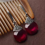 S925 Sterling <b>Silver</b> Opal Drop Earrings Red Corundum Wedding Party 925 <b>Silver</b> Earring for Women <b>Jewelry</b> LE36