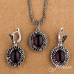 Jenia Vintage Silver Color <b>Jewelry</b> Sets Marcasite Red Garnet Drop Earrings and Pendant Necklace Set XS150