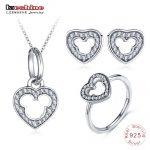 LZESHINE New 925 Sterling <b>Silver</b> Heart Jewelry Set 3pc Charm Wedding Jewelry Miki Mouse Stud <b>Earrings</b>/Pendant/Ring Set For Women