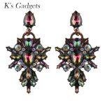Vintage <b>Antique</b> Gold Color Chandelier Earrings For Women Luxury Cubic Zirconia Crystal Wedding Boho Earring Costume <b>Jewelry</b>