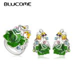 Blucome Classic Green Rose Flower Stud Earrings Ring Set For Girls Women Holiday Beach <b>Accessories</b> Party Gold Color <b>Jewelry</b> Sets