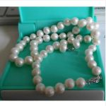 set of 9-10mm south sea round white pearl necklace18″ &<b>earring</b> 925silver