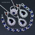 L&B Popular Blue Crystal White Zircon 925 logo <b>Silver</b> Color <b>Bracelets</b> Jewelry Sets For Women Wedding