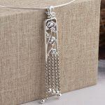 FNJ 925 Silver Long Pendant 100% Pure S925 Solid Thai Silver Tassel Flower Pendants for Women Men <b>Jewelry</b> <b>Making</b>