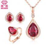 GEHOO 925 Sterling <b>Silver</b> Fine Jewelry Set Ruby Paved CZ Pendant Water Drop Design Women Charm Necklace & Stud <b>Earrings</b> & Ring