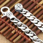 Wholesale S925 <b>Sterling</b> <b>Silver</b> Personalized <b>Jewelry</b> Retro Thai <b>Silver</b> men's Bracelet Cross Flower Bracelet 20CM Length