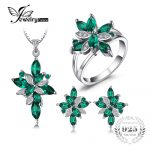 Jewelry Mystic Green Created Emerald Jewelry Set 925 Sterling <b>Silver</b> Ring Necklace Pendant <b>Earring</b> Clip Women Bridal Jewelry Set