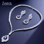 ZAKOL Vintage Micro Inlay Cubic Zirconia Blue Cluster <b>Jewelry</b> Set Sliver Color <b>Necklace</b> Earrings Set Women Gift FSSP308