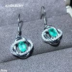 KJJEAXCMY Fine Jewelery 925 sterling <b>silver</b> beautiful real shot natural emerald female <b>earrings</b> real precious precious stones ne