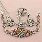 Women's Multicolor Cubic Zirconia <b>Silver</b> Color Wedding Jewelry Sets For Bridal Earrings Necklace Ring <b>Bracelet</b> Free Jewellry Box