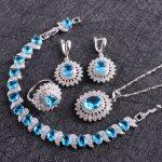 Blue CZ White Rhinestones Costume <b>Jewelry</b> Sets Women 925 Silver Earrings/Ring/Pendant/<b>Necklace</b>/Bracelets Free Gfit Box