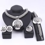 Latest Luxury Big Dubai <b>Silver</b> Plated Jewelry Sets Fashion Nigerian Wedding African Beads Costume Necklace Bangle Earring Ring