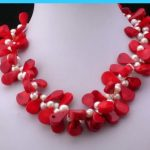Wedding Woman <b>Jewelry</b> Natural White Freshwater Pearl Red Coral Waterdrop Choker Necklace <b>Handmade</b> Charm