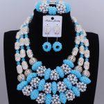 Splendid Sea Blue and <b>Silver</b> African Beads Jewelry Set Nigerian Wedding Dubai Jewelry Necklace Set 2018 Christmas Beads Fashion