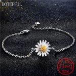 2018 New <b>Handmade</b> Chrysanthemum Flower Shape 100% 925 sterling silver Bracelet 925 Fine <b>Jewelry</b> for Women