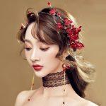 Red Cotton Flower Bridal Headbands With Earring Wedding Accessories <b>Handmade</b> Hairpiece Women Party <b>Jewelry</b> Girl's Headpiece
