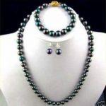 Prett Lovely Women's 7-8mm black Akoya Cultured Pearl Necklace Bracelet Earring 18″ sets silver <b>jewelry</b>