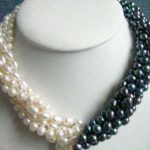 New Arrival 5rows 7-8mm White&black Pearl Necklace Chain 18inch Women Girl Fashion <b>Jewelry</b> Design <b>Make</b> Wholesale Price