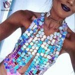 DANZE Exaggerated Sexy Womens Sequins Plastic Bra Chain Chest Body Chain For Women <b>Handmade</b> Charm Body <b>Jewelry</b> Dropshipping