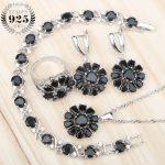 Black Zircon Women Bridal <b>Silver</b> 925 Costume Jewelry Sets <b>Bracelets</b> Pendants Necklaces Earrings Rings Set Jewellery Gift Box
