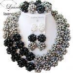 <b>Silver</b> black crystal woven ball fashion costume jewelry nigerian wedding african beads jewelry set ABC144