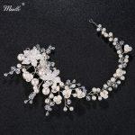 Miallo Newest Trendy Wedding Rhinestone Headband for Women Five-Star Flower Peals Hair Vine Crown <b>Handmade</b> Bride Hair <b>Jewelry</b>