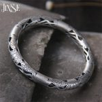 JINSE Wholesale 999 <b>Silver</b> Bangle <b>Bracelet</b> Antique Thai <b>Silver</b> Fish & Lotus Flower Hollow Bangle 7.80mm Inner 60mm 29G